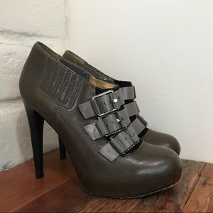 L.A.M.B. Buckle Bootie Sky High Olive Leather King